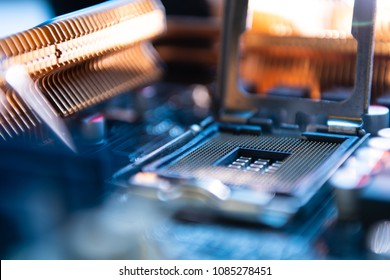 Computer engineer maintenance computer CPU hardware upgrade of motherboard component, PC repair by technician and industry support installation CPU on socket