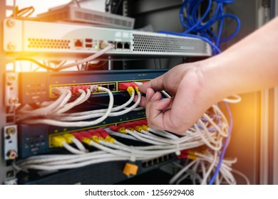 Computer engineers are checking the connection of LAN cable and network device.