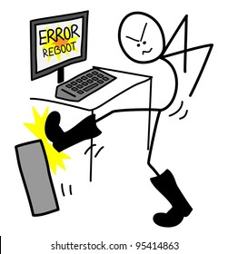Computer with an 'error, re-boot' message being booted by a stick figure