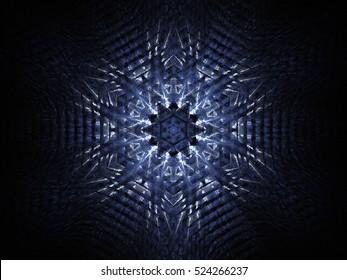 Computer fractal illustration of blue white pattern on black background