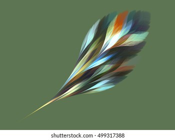 Computer fractal illustration of colorful magic feather in watercolor style on green background