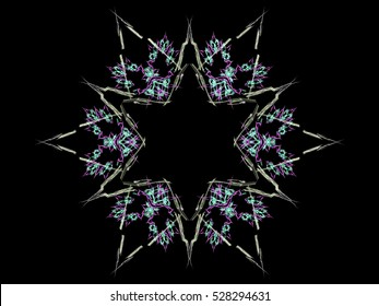 Computer fractal illustration of  double six-pointed star on black background
