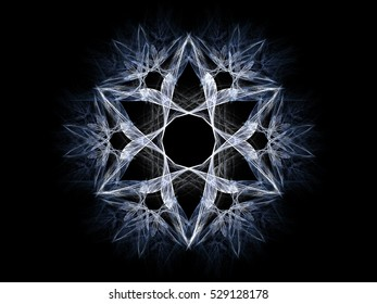 Computer fractal illustration of  gray blue winter snowflake, star, flower on black background