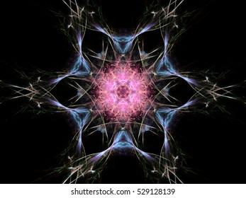 Computer fractal illustration of  pink blue white flower on black background