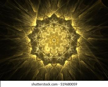 Computer fractal illustration of  round floral design on black background