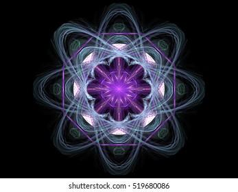 Computer fractal illustration of  round floral design with petals on black background