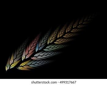 Computer fractal illustration of wheat stalk on a black background