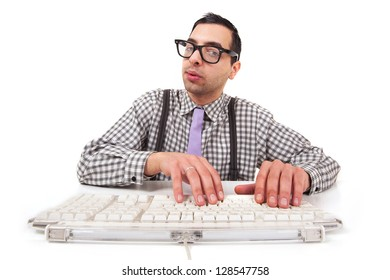 Computer geek portrait with keyboard and eyeglasses isolated on white background.