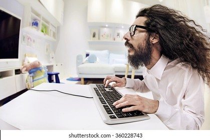 Computer geek portrait with keyboard and eyeglasses