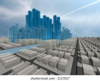 Computer generated 3d city model