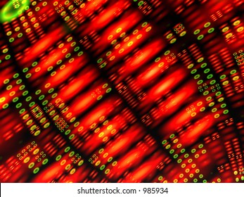 Computer generated abstract image with red and green shapes