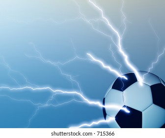 Computer generated background of a soccer ball with lightning bolts.