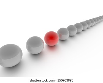 A Computer generated graphic of a series of sphere depicting a leadership or teamwork concept.