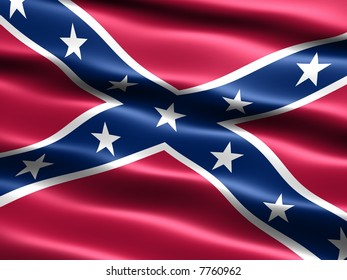Computer generated illustration of the the Confederate, or Rebel, or Dixie Flag with silky appearance and waves
