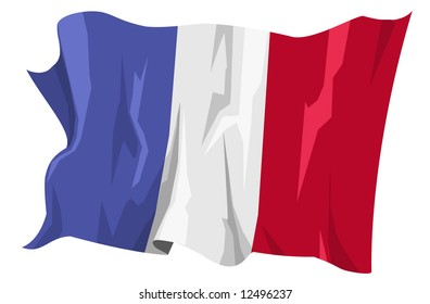 Computer generated illustration of the flag of France