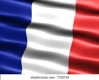 Computer generated illustration of the flag of France with silky appearance and waves