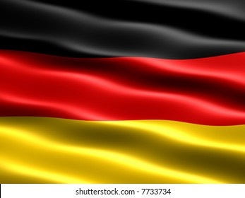 Computer generated illustration of the flag of Germany with silky appearance and waves