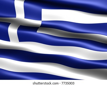 Computer generated illustration of the flag of Greece with silky appearance and waves