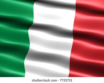 Computer generated illustration of the flag of Italy with silky appearance and waves