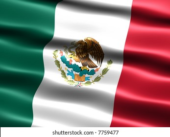 Computer generated illustration of the flag of Mexico with silky appearance and waves