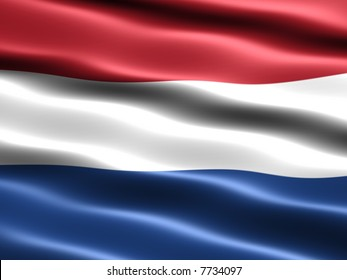 Computer generated illustration of the flag of the Netherlands with silky appearance and waves