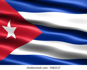 Computer generated illustration of the flag of the Republic of Cuba with silky appearance and waves