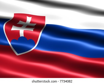 Computer generated illustration of the flag of Slovakia with silky appearance and waves