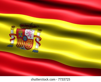 Computer generated illustration of the flag of Spain with silky appearance and waves