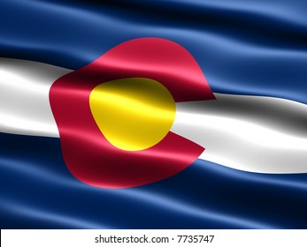 Computer generated illustration of the flag of the state of Colorado with silky appearance and waves