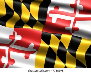 Computer generated illustration of the flag of the state of Maryland with silky appearance and waves