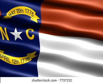 Computer generated illustration of the flag of the state of North Carolina with silky appearance and waves