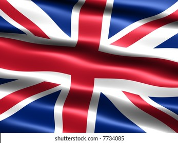 Computer generated illustration of the flag of the United Kingdom with silky appearance and waves