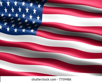 Computer generated illustration of the flag of the U.S.A. with silky appearance and waves