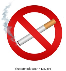Computer generated illustration: no smoking sign