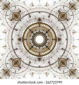 Computer generated illustration rendered fractal showing solar