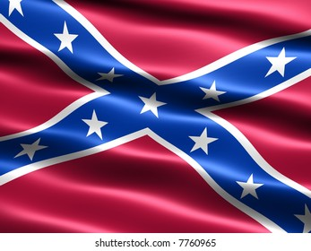 Computer generated illustration of the Second Confederate Navy Jack in light blue with silky appearance and waves