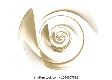 Computer generated image of abstract gold turbine isolated on white. Digital illustration. Fractal spiral pattern. Technological background. Turbine blades.