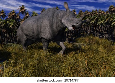Computer Generated Image Of A Brontotherium Dinosaur