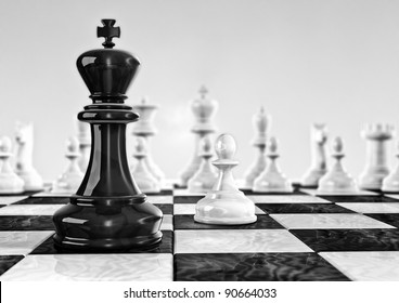 Computer generated image of a chess board tower point of view
