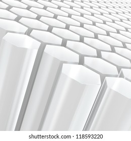 Computer generated image of white semitransparent hexagon shapes