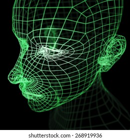 A computer generated imagery of a polygonal human head model rendered with wireframe.  It could represent a will, thought, mind or artificial intelligence in the cyberspace.