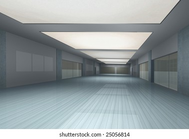 Computer generated long empty interior in perspective view