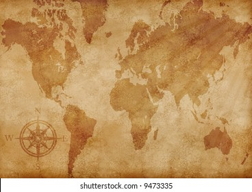 computer generated old map of the world