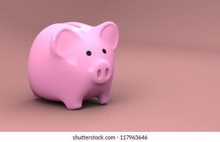 Computer generated and rendered image of pink piggy bank made of porcelain