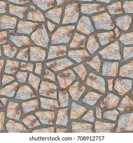 Computer generated texture stone masonry wall. Differently sized stones insert in concrete. Seamless tileable repeating square 3D rendering texture.