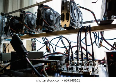 Computer with graphic cards for bitcoin mining