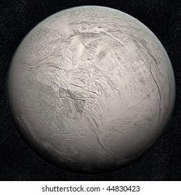 A computer graphic rendering of Enceladus, one of Saturn's satellites