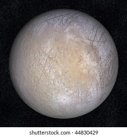 A computer graphic rendering of Europa, one of the moons of Jupiter