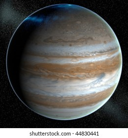 A computer graphic rendering of Jupiter