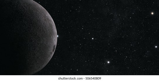 A computer graphic rendering of the Moon. 3D rendering. Elements of this image furnished by NASA